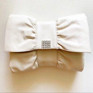 Banana Republic - Leather Bow Clutch Cream